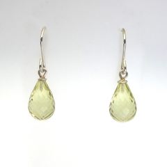 Lemon Quartz briolettes  sterling silver earrings