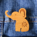 Laser Cut Wooden Elephant Brooch.