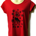 Red Hula Girl TShirt - ladies sizes 8 to 18 avail, kitsch, retro