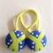 Blue green fabric button hairties