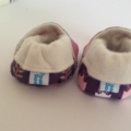 "Baby shoes, bamboo fleece lined ""kooky owl"" stay on/soft soled."