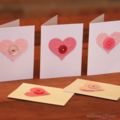 Mini-card with embossed love heart and hand-stitched button. Free postage.