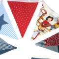 Cowboys and Stars Denim Blue, Red, White Boys Bunting. Birthday Christmas Gift