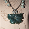 Whispering Willows.SALE exquisite Moss Green Carved Jasper Flower Pearl necklace