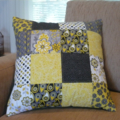 Patchwork Cushion - Square Grey & Yellow with black reverse