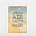 Typography Art Print on paper size A4 Ocean Air Salty Hair