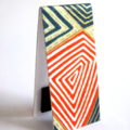 Magnetic bookmark (small) - red geometric Japanese chiyogami
