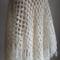 Snow - Hand Spun Cream Wool Crochet Shawl Wrap