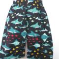 BOYS LONG STYLE SHORTS - navy sharks -size 3-4