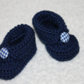 NB-12M Boot Style Booties with Gingham Fabric Button in Navy or Junior Navy