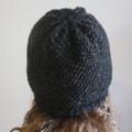 Charcoal - Black Flecked Reversible Winter Beanie Hat