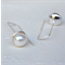 Sterling Silver & Freshwater Pearl 'modern geometric' earrings (9mm size)