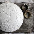 Botanic - Wedding Ring Keeper, Ring Pillow Alternative - Round - White Clay