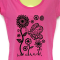 ladies sizes avail - Pink flower & butterfly print tshirt