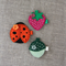 Value gift set of 3 hair clips, green acorn, orange ladybug and pink strawberry
