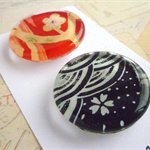 Round Glass Magnet Set - Japanese Paper Red and Black