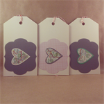 3 x Gift Tags -  Upcycled Road Map Travel Theme - Die Cut Hearts - Bakers Twine