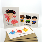 Happy Birthday Card Pack Child Set of 3 Cards CP3005 Superhero, Monsters, Fairy