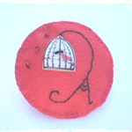 Red Felt and Button Birdcage Brooch