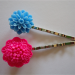 Blue and hot pink flower resin hair pins