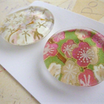 Round Glass Magnet Set - Japanese Paper Pink and Green