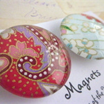 Round Glass Magnet Set - Japanese Paper