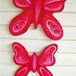 Beautiful pink wooden Butterflies - set of three room decor art -Free Shipping