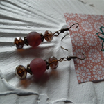 Vintage Fire.. SALE orange Fire Web earrings frosted agate crystal Spring orange