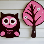 Owl and a Tree, Wooden art Room Decor, pink, white and brown. Free Shipping!