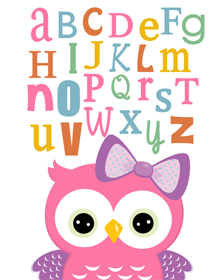 Baby Nursery Art Print Dog Abc Nursery Decor Alphabet Print: GORGEOUS GIRLS OWL ABC NURSERY WALL ART PRINTS 8X10