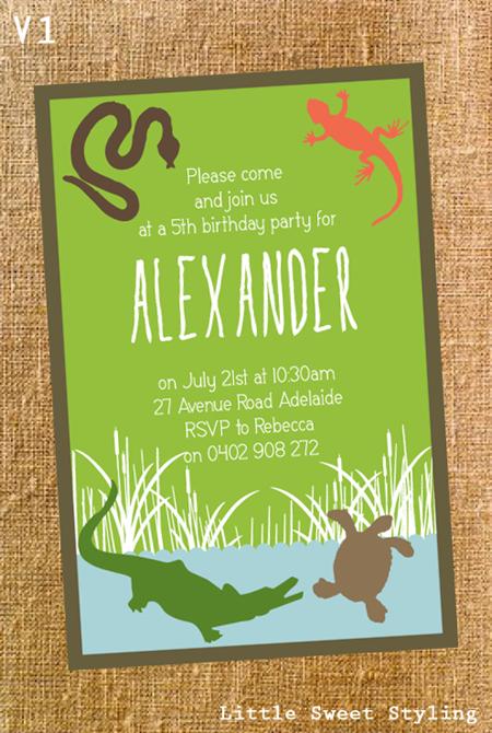 reptile personalised printable invitation