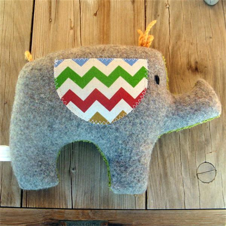 Bernard Plush Grey Upcycled Elephant