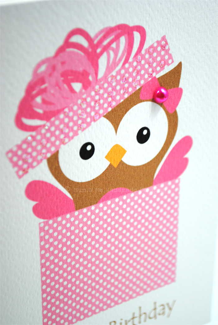 happy birthday card  female  birthday owl in pink box hbf, Birthday card