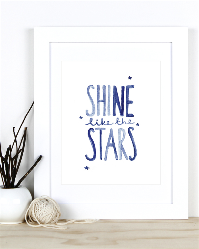 Shine Like The Stars A4 Print Inspirational Quote For Home Nursery