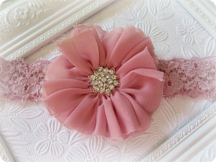 Dusty Pink Vintage Chiffon Flower Headband  30bab00d10a