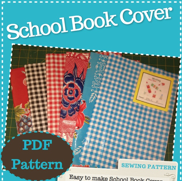 How To Make A Reusable Book Cover ~ Reusable school book cover pdf sewing pattern easy quick