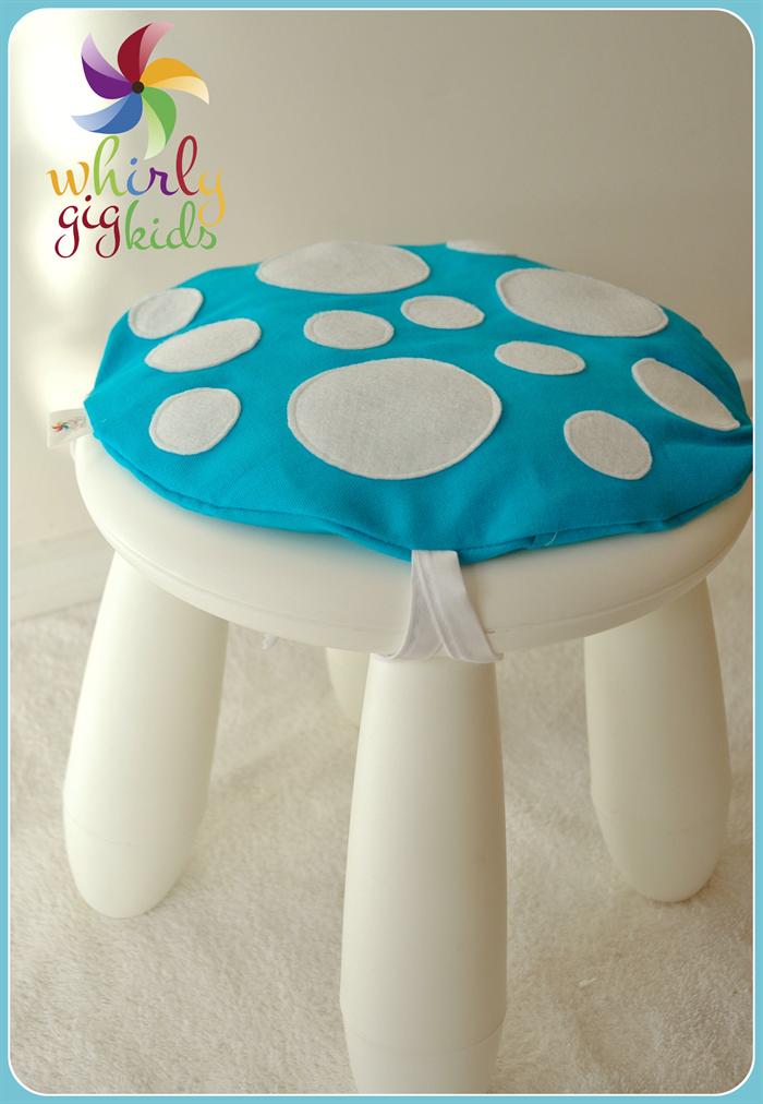 Toadstool Cushion Blue: Children / Kids Chair cushion fits