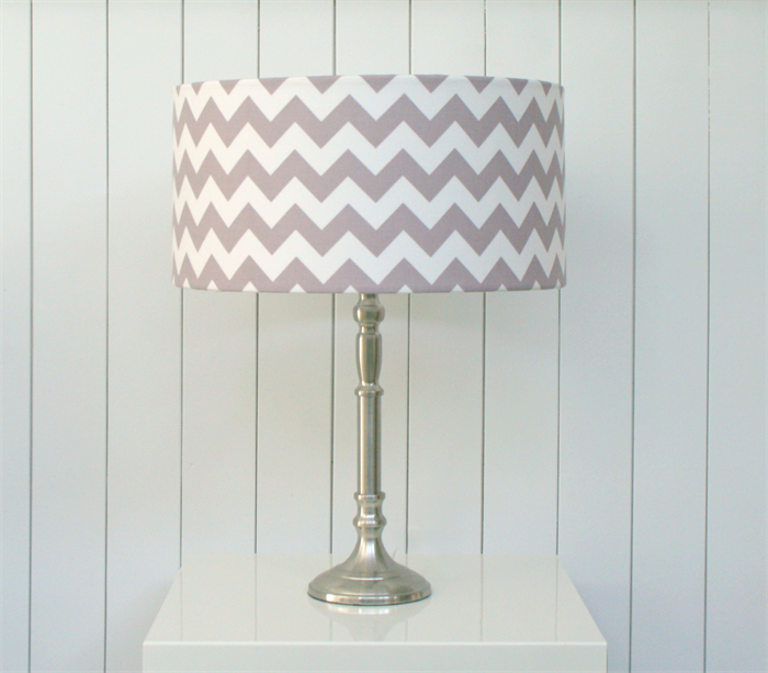 Large grey + white chevron print fabric lampshade, table/floor ...