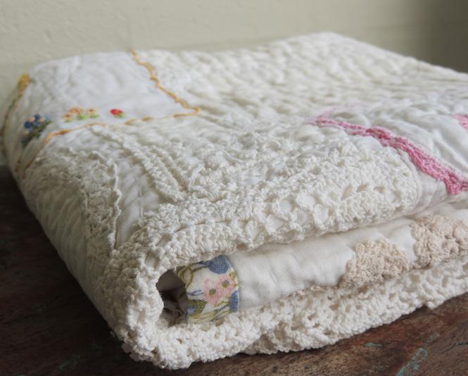 art quilt vintage linen doily hand quilted hand stitched lap quilt bekahdu handmade. Black Bedroom Furniture Sets. Home Design Ideas