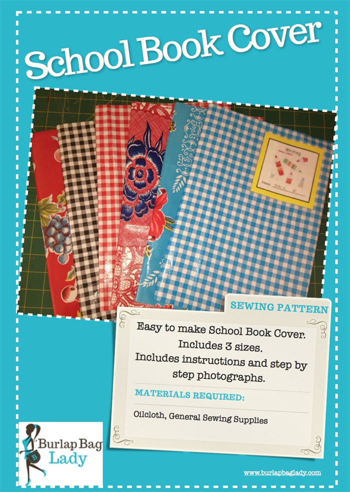 Book Cover Sewing Supplies ~ Reusable school book cover pdf sewing pattern easy quick