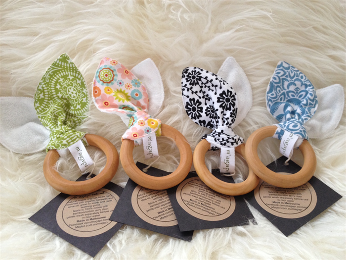 ... Natural Wooden Teething Rings with Cotton Ears 156f13e6d4be