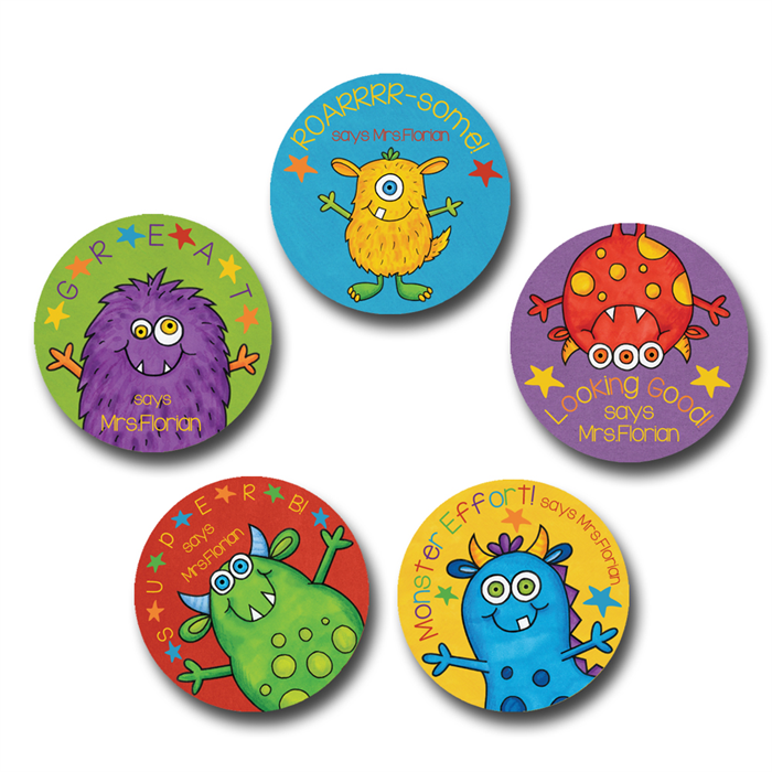Monster star personalised merit stickers for teachers bag of 40