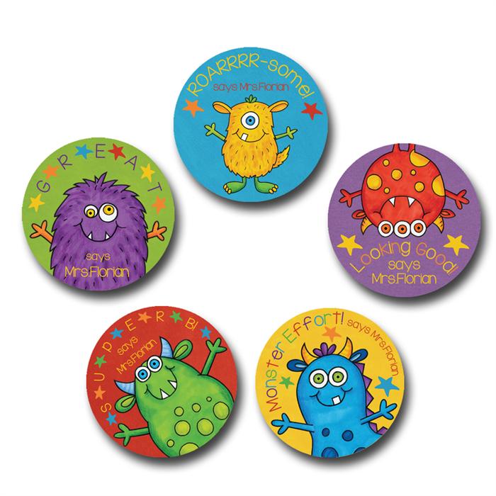 Monster star personalised merit stickers for teachers bag of 40
