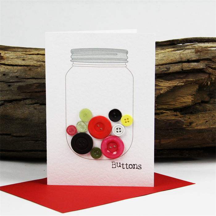 Button Jar Gift Card Birthday Thankyou Just For You Buttons