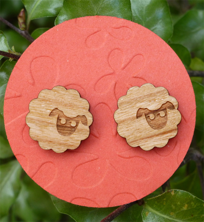 Laser Cut Wooden Sheep Disc Earrings Once Upon A Tree On Madeit