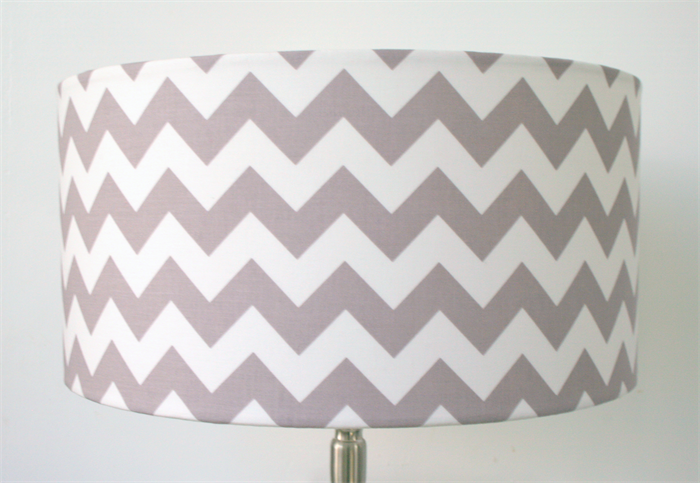 Large Grey White Chevron Print Fabric Lampshade Table