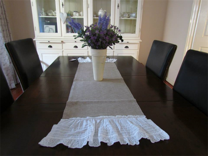 Linen U0026 Lace Shabby Chic Table Runner