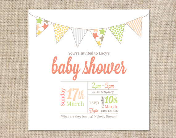 printable baby shower invitation template bunting coco ella