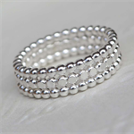Sterling Silver beaded stacking rings - Set of 3 - Your Size - Made to Order
