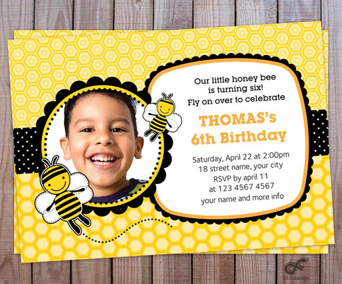 Birthday party invitation photo personalised printable bumble bee birthday party invitation photo personalised printable bumble bee filmwisefo Images